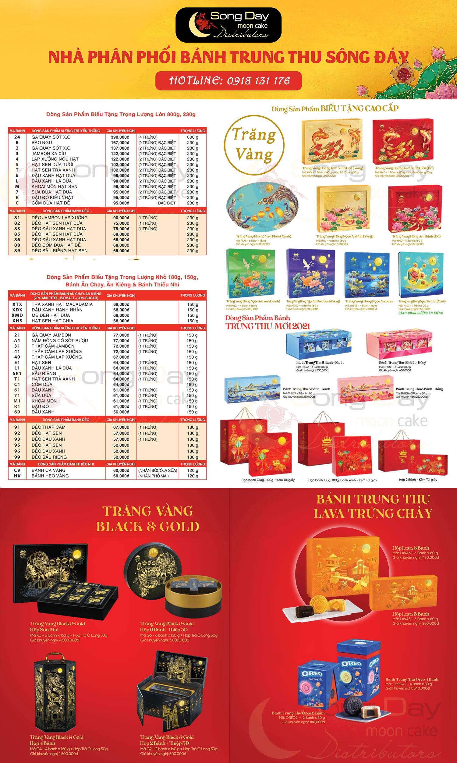 Bảng báo giá bánh trung thu Kinh Đô 2021